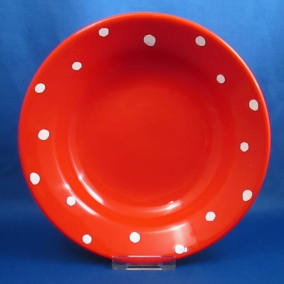 Waechtersbach Polka Dot Cherry Red rimmed soup bowl
