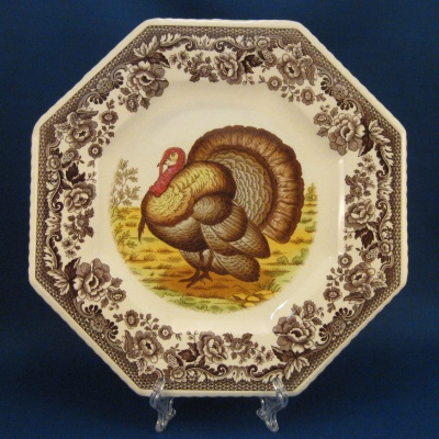 Spode Woodland Turkey octagonal luncheon