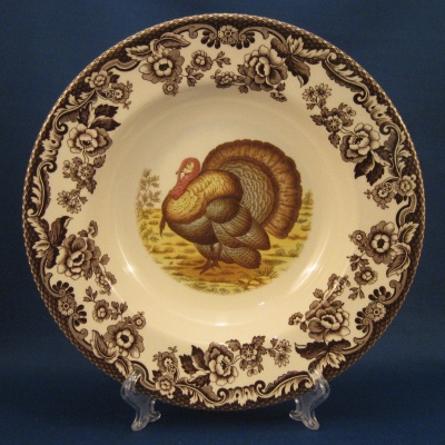 Spode Woodland Turkey rimmed soup