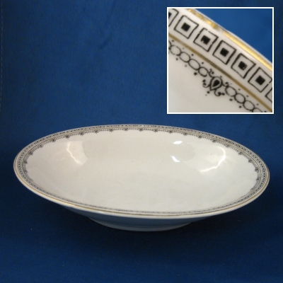 Z S & Co 9446 Greek Key Variation small oval vegetable bowl