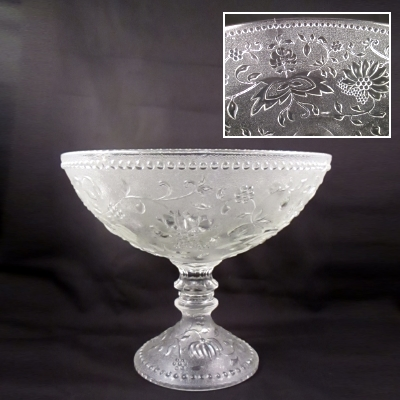 Clear pressed glass footed bowl