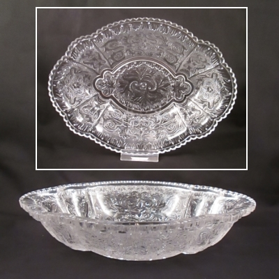 "Clear 8"" relish dish with piecrust edge"